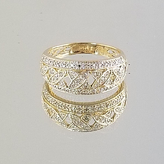 1990's Diamond Pave Ring / 14k Yellow Gold