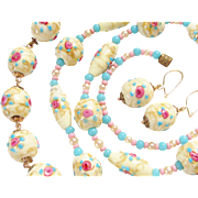 Wedding Cake Venetian Glass Beaded Necklace Bracelet Earrings Italy Fiorato Demi