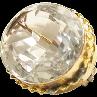 Huge Victorian Cut Rock Crystal Brooch Gold Filled Antique
