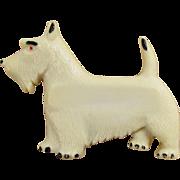 Vintage Cream Celluloid Scottie Dog Brooch 1940s