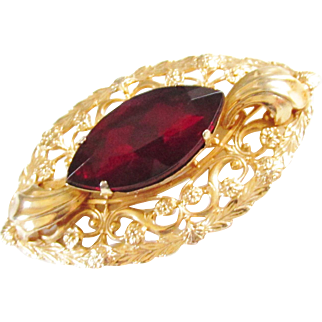 Large Vintage Ruby Red Glass Stone Art Nouveau Brooch Gold Filled