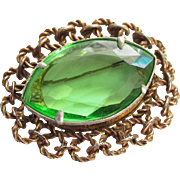 Large Antique Edwardian Emerald Green Glass Brooch Jewelry