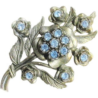 Large Vintage Blue Rhinestone Flower Brooch 1940s signed Little Nemo LN/25