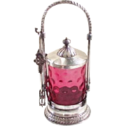 Victorian Cranberry Glass Pickle Castor Inverted Coin Dot Thumb Print Meridan USA