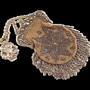 Victorian French Steel Cut Bead Chatelaine Purse 1800s Art Nouveau Woven