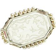 Antique Vintage Krementz Intaglio Rock Crystal Brooch Art Nouveau Edwardian