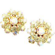 Vintage Weiss Citrine Rhinestone Earrings Aurora Borealis clip on signed 1960s Cluster Snowflake