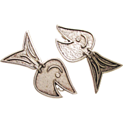Rare Vintage Modernist Patrick Retif Paris Dangle Fish clip on Earrings 1970s France