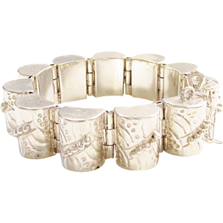 Early Vintage Mexico Sterling Chunky Link Bracelet 1930s