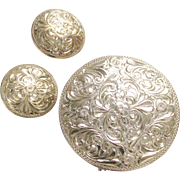 Vintage Sterling Silver Round Etched Brooch & Clip onEarrings 925 signed