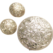 Vintage Sterling Silver Round Etched Brooch & Clip onEarrings 925