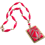 Vintage Art Deco Czech Necklace Red Glass 1930s Jewelry signed