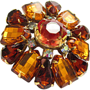 Vintage Kramer Red Givre Yellow Amber Rhinestone Flower Brooch