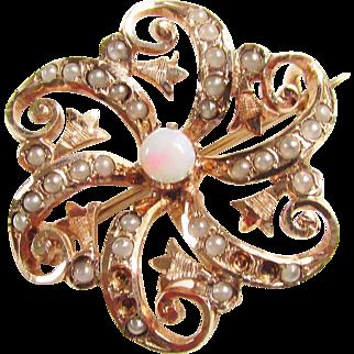Victorian Opal Seed Pearl Gold Brooch Pin 10 kt