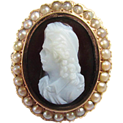 Antique Victorian 18 karat Gold Seed Pearl Mourning Man Cameo Brooch onyx mop