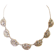 Vintage Sterling Cala Lily Link Necklace signed Danecraft 1950s Mid Century Jewelry