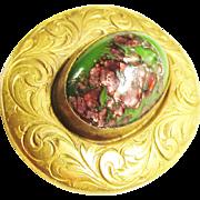 Vintage Czech Green Pink Lava Art Glass Cabochon Gold Filled Brooch Art Nouveau 1920