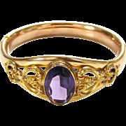 Antique Edwardian Gold Filled Amethyst Color Glass Bangle Bracelet Cuff Hinged