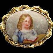 Large Antique Victorian Porcelain Little Girl Portrait Brooch Hand Painted