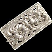 Vintage Silver Art Nouveau Flower Brooch 1930s Austria Hallmark 835 Silver