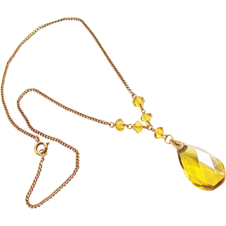 Vintage Art Deco Czech Yellow Amber Glass Pendant Beaded Necklace 1930s