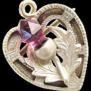 Antique Sterling Scottish Purple Thistle Heart Brooch Pin Pendant 1916 Plaid Pin