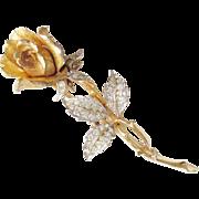 Vintage Rose Pave Rhinestone Flower Brooch signed Boucher 1960s