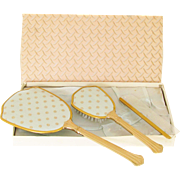 Vintage Blue Silk Gold Dresser Set Brush Hand Mirror Comb in original box New Old Stock