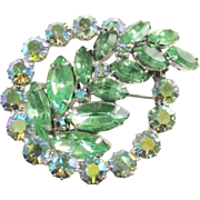 Vintage Green Rhinestone Brooch signed Continental 1960s