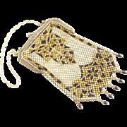 Vintage Art Deco Mandalian Enamel Mesh Flapper Purse signed Beaded Dangle Fringe