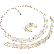 Vintage White Thermoset Necklace Bracelet Earrings signed Coro 1960s Demi Parure Wedding