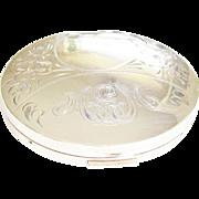 Sterling Silver Etched Art Nouveau Powder Compact 1930s 1940s monogram MEM