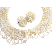 White Glass Beaded Ladies Collar matching Earrings 1940s 1950s Vintage