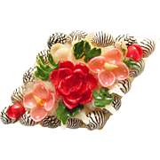 Hand Painted Sea Shell Flower Brooch 1950s Pink Red Vintage Jewelry