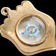 Antique Victorian Transparent Compass Watch Fob Gold filled Pendant 1800s