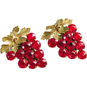 Pair Red Rhinestone Grape Cluster Duette Dress Clips 1930s 1940s Art Deco Vintage