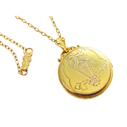 Antique Etched Double Photo Locket Necklace Gold Filled signed