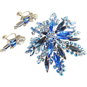 Vintage Sherman Blue Aurora Rhinestone Brooch Earrings signed