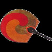 Antique Japanese Uchiwa Hand Fan Bamboo Hand Painted