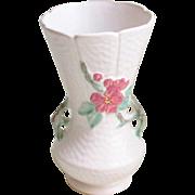 Large Vintage Art Deco Weller Handled Wild Rose Vase 1930s