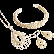 800 Silver Woven Bracelet Pendant Earrings 1960s European Vintage