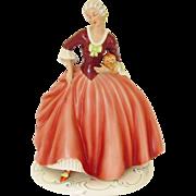Vintage Large Royal Dux Lady Dog Porcelain Figurine Czech 1938 - 1945 French Fashion