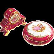 Vintage Limoges Red Porcelain Trinket Box and Clock 1960s France