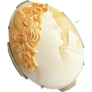 Huge Art Deco Hand Carved Shell Cameo Brooch Pendant European 800 Silver Vintage