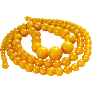 Amber Butterscotch Bakelite Beaded Necklace Vintage Graduating