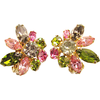 Sherman Pink Green Smoke Rhinestone Earrings Vintage signed1960s