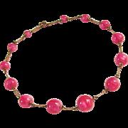 Art Deco Czech Pink Art Glass Bead Chain Necklace 1920s Vintage