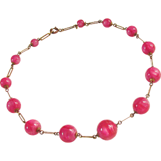 Art Deco Czech Pink Art Glass Bead Chain Necklace 1920s Vintage