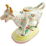 Vintage Staffordshire Cow Creamer Hand Painted Flowers 1940s Cottage Chic