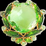 Vintage Emerald Green Rhinestone Brooch Large Stone Mid Century